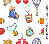 collection sports equipment... | Shutterstock .eps vector #626649350