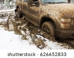 a vehicle stuck in the clay. | Shutterstock . vector #626652833