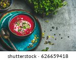 spring detox beetroot soup with ... | Shutterstock . vector #626659418