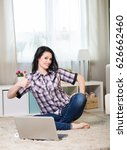 young woman with laptop in the... | Shutterstock . vector #626662460