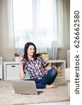 young woman with laptop in the... | Shutterstock . vector #626662580