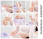 woman hands care and manicure collage - stock photo