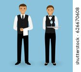 couple of waiter and waitress... | Shutterstock .eps vector #626670608
