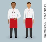 couple of male and female chefs ... | Shutterstock .eps vector #626670614