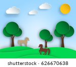 sunny nature landscape with... | Shutterstock .eps vector #626670638