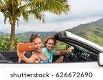 car holiday selfie. couple... | Shutterstock . vector #626672690