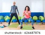 two slim attractive sportswomen ...   Shutterstock . vector #626687876