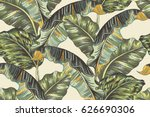 tropical palm leaves  jungle... | Shutterstock .eps vector #626690306