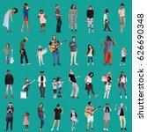 diverse of people enjoy music... | Shutterstock . vector #626690348