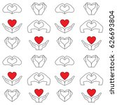pattern from hand and red heart ... | Shutterstock .eps vector #626693804