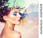 portrait of beautiful sensual... | Shutterstock . vector #626696228