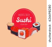 asian food poster. vector hand... | Shutterstock .eps vector #626698280