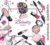 cosmetics and beauty background ... | Shutterstock .eps vector #626698454
