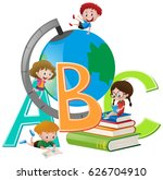 four children with globe and... | Shutterstock .eps vector #626704910