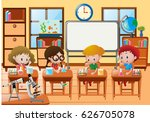 students doing experiment in... | Shutterstock .eps vector #626705078