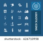 logistic icon set clean vector | Shutterstock .eps vector #626710958