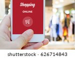 hand holding smart phone with... | Shutterstock . vector #626714843