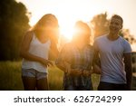 family of three posing together ... | Shutterstock . vector #626724299
