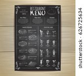 chalk drawing restaurant menu... | Shutterstock .eps vector #626725634