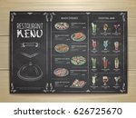 chalk drawing restaurant menu... | Shutterstock .eps vector #626725670