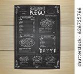chalk drawing restaurant menu... | Shutterstock .eps vector #626725766
