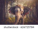 elephants in chitwan. in the... | Shutterstock . vector #626725784