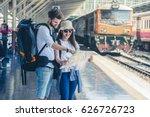 multiethnic travelers are... | Shutterstock . vector #626726723