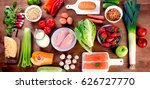 vegetables  fruit  fish and... | Shutterstock . vector #626727770