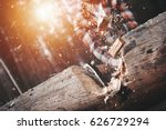 close up  lumberjack cuts a big ... | Shutterstock . vector #626729294