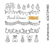 hand drawn party doodles  ... | Shutterstock .eps vector #626729480