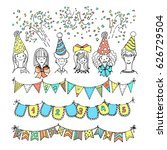 hand drawn party doodles  ... | Shutterstock .eps vector #626729504