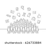 sketch of working little people ... | Shutterstock .eps vector #626733884