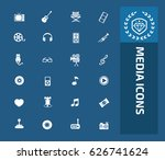 media icon set clean vector | Shutterstock .eps vector #626741624