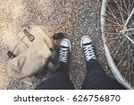 woman traveling with backpack... | Shutterstock . vector #626756870