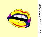 lips pop art. for printing on... | Shutterstock .eps vector #626759786