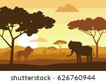 african savannah landscape with ...