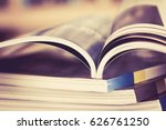 close up opened magazine page... | Shutterstock . vector #626761250