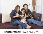 playful family playing video...   Shutterstock . vector #626761274