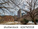a city park with buildings on a ... | Shutterstock . vector #626765318