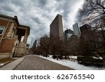 a city lined with trees on the... | Shutterstock . vector #626765540