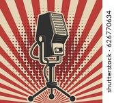 retro microphone on vintage... | Shutterstock .eps vector #626770634