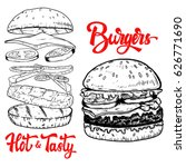 set of hand drawn burgers... | Shutterstock .eps vector #626771690