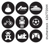 toys icons set. white on a...