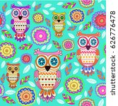 pattern with owl | Shutterstock .eps vector #626776478