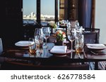 table set for banquet in... | Shutterstock . vector #626778584