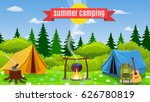 tents with bonfire on forest... | Shutterstock .eps vector #626780819