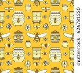 beekeeping seamless pattern... | Shutterstock .eps vector #626781230