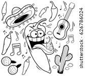 mariachi chili pepper mexican... | Shutterstock .eps vector #626786024
