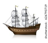 vintage sailing ship with... | Shutterstock .eps vector #626793719