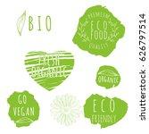 set of organic food labels. eco ... | Shutterstock .eps vector #626797514